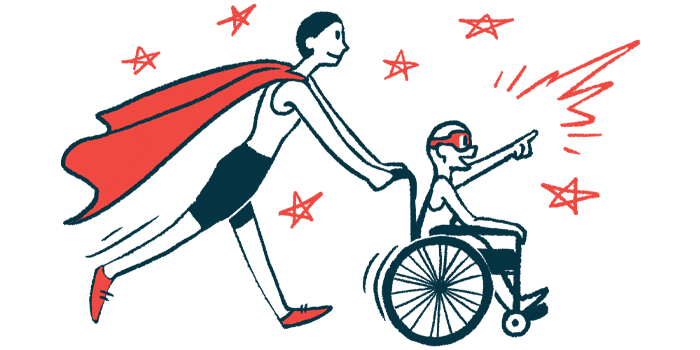 rare disease clinical trial participants | Hypoparathyroidism News | Illustration of woman in cape pushing child in wheelchair